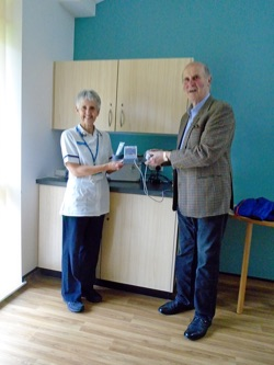 Presentation of Portable Bladder Scanner to Sally Quilley by Julian l'Anson, Chairman of the Friends